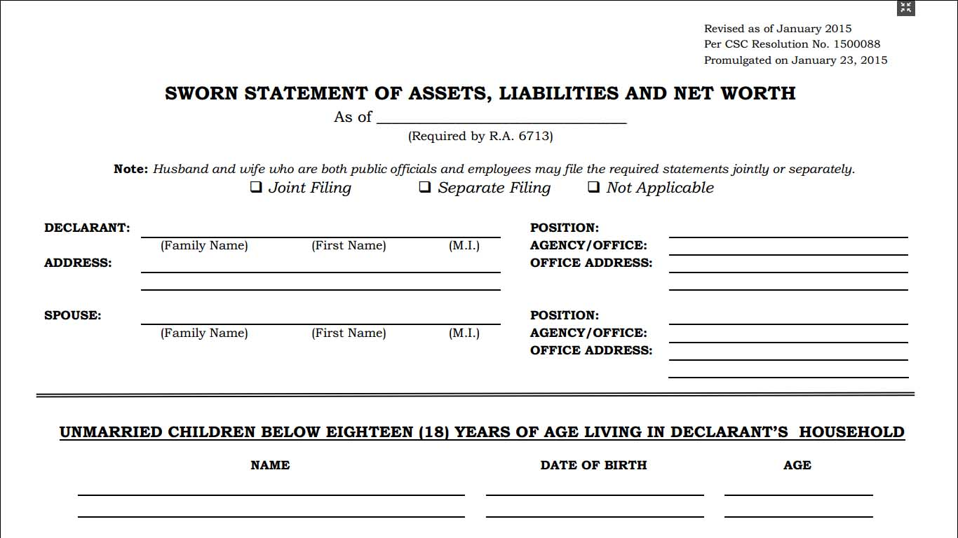 Statement of assets liabilities and net worth saln form for Asset and liability statement template