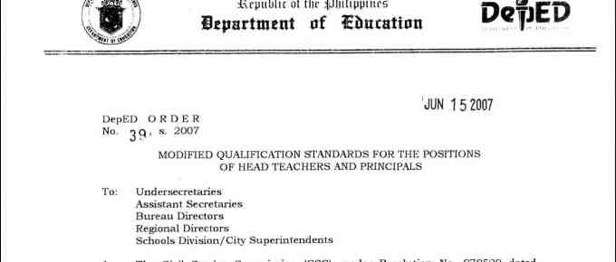 Qualification Standards for the Position of Head Teachers and Principals