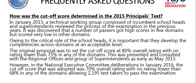 2016 Principals' Test Frequently Asked Questions