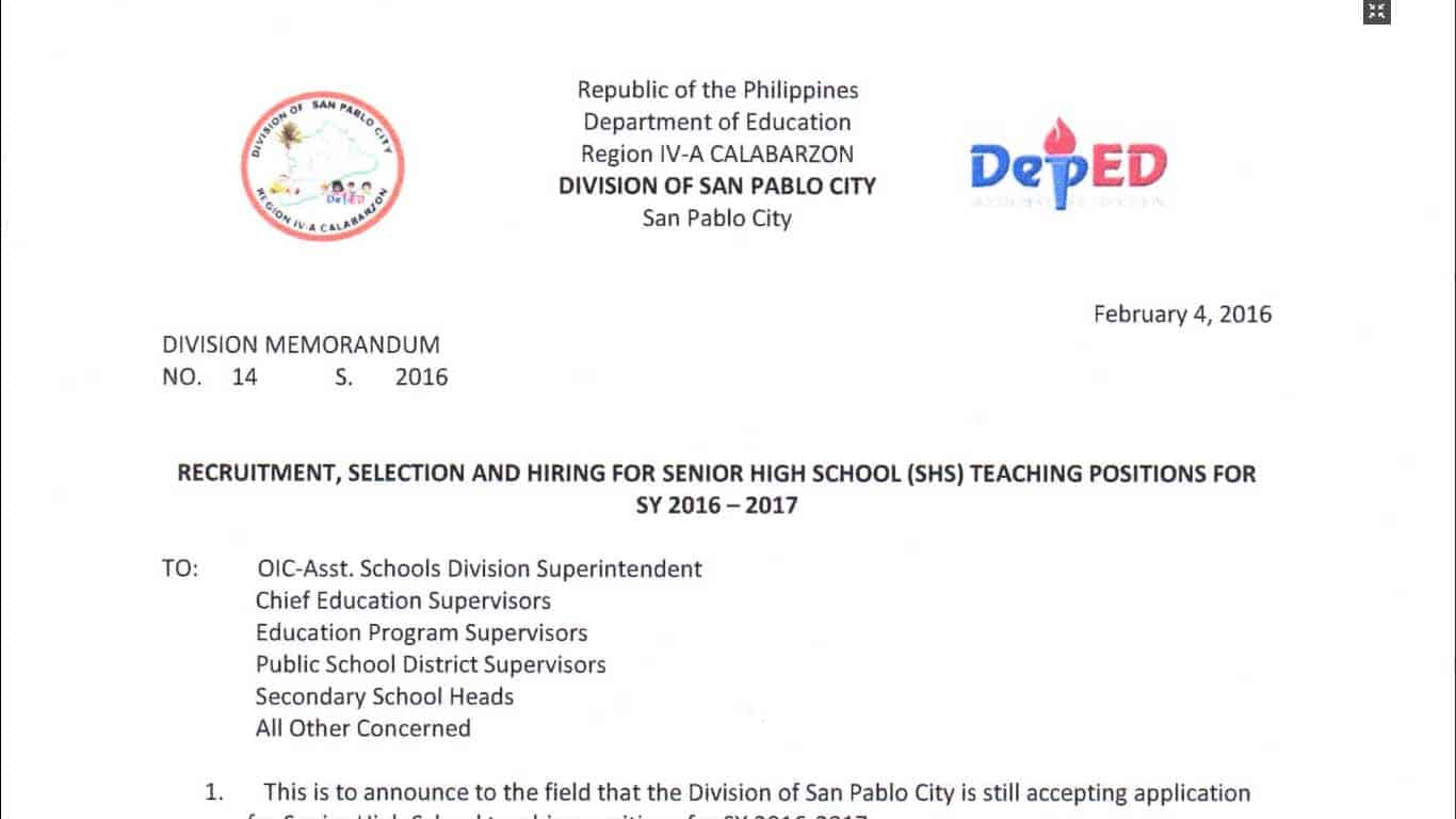 Deped San Pablo City Recruitment Selection And Hiring For