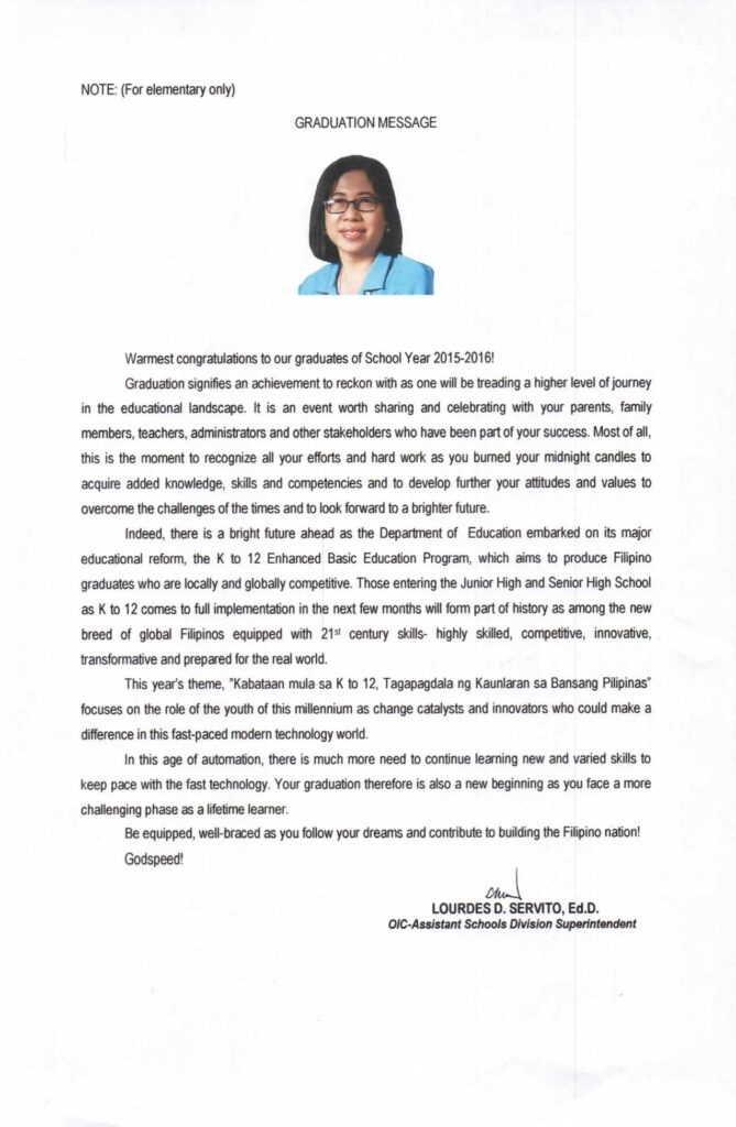 2016 Graduation Message of Lourdes D. Servito Elementary
