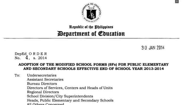 Adoption of the Modified School Forms (SFs) for Public Elementary and Secondary Schools