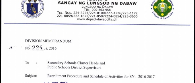DepEd Davao City 2016 Recruitment Procedure and Schedule of Activities