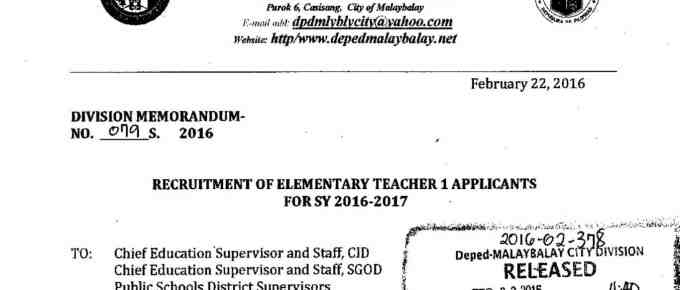 DepEd Malaybalay City Recruitment of Elementary Teacher I Applicants For SY 2016-2017