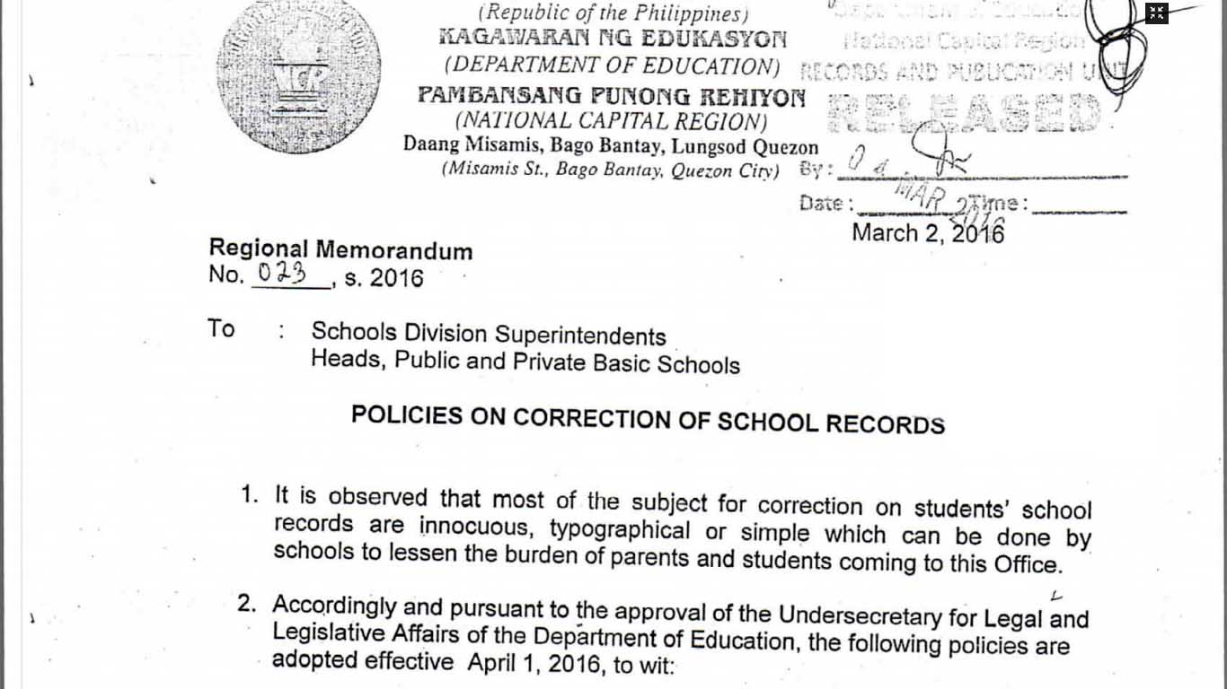Deped Policies On Correction Of School Records Teacherph