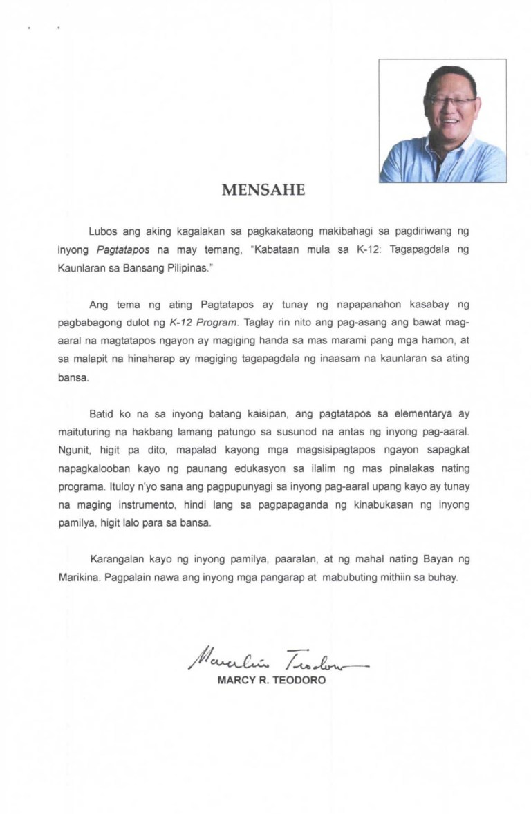 Graduation Message of Cong. Marcy Teodoro