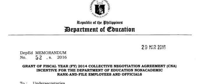 Grant of Fiscal Year (FY) 2014 Collective Negotiation Agreement (CNA) Incentive for the Department of Education Nonacademic Rank-and-File Employees and Officials