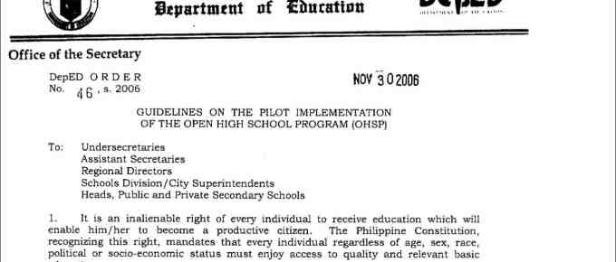 Guidelines on the Pilot Implementation of the Open High School Program (OHSP)