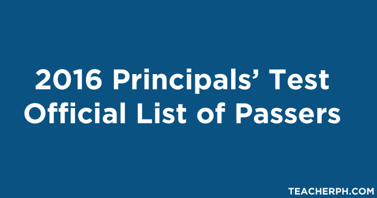 2016 Principals' Test Official List of Passers
