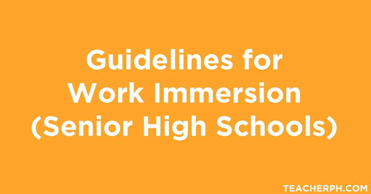 guidelines for work immersion  senior high schools