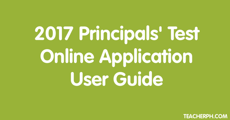2017 Principals' Test Online Application User Guide