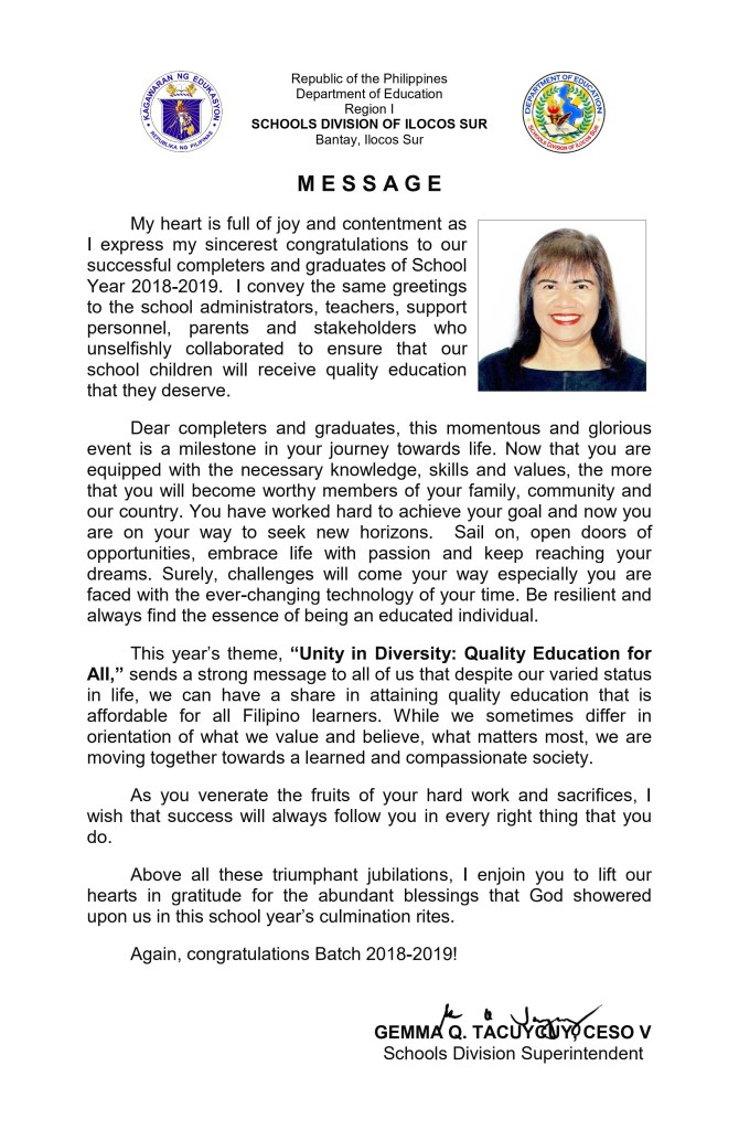 2019 Graduation Message of SDS Gemma Q. Tacuycuy