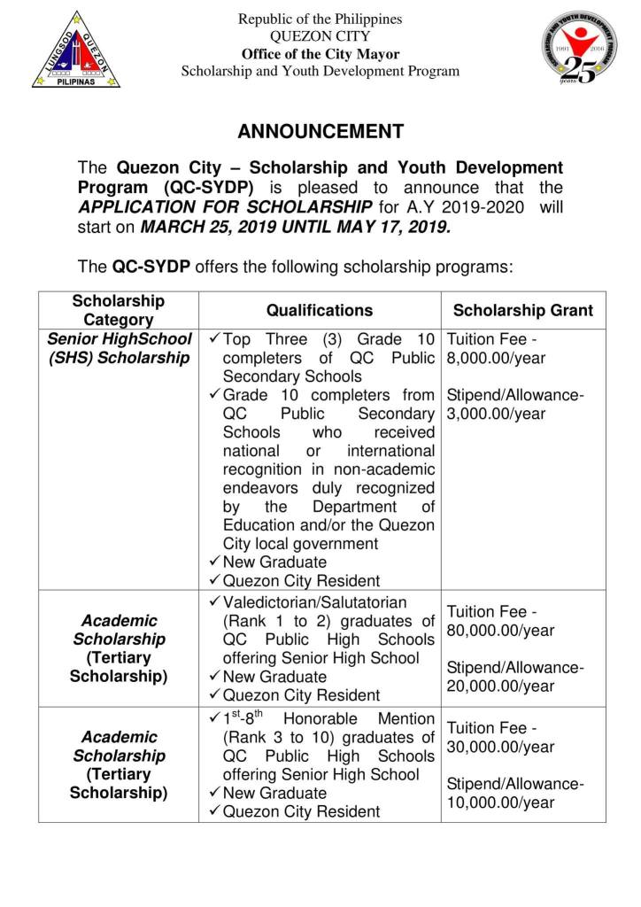 2019 Quezon City Scholarship and Youth Development Program