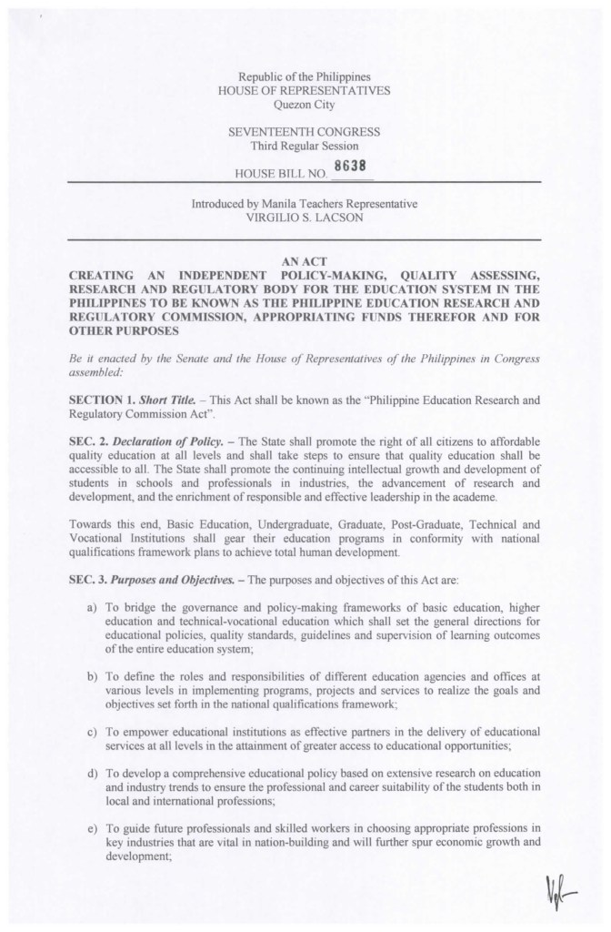HOUSE BILL NO. 8638 PHILIPPINE EDUCATION RESEARCH AND REGULATORY COMMISSION HISTORY
