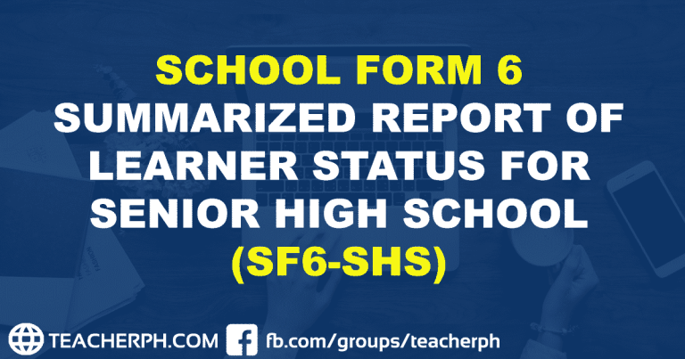 SCHOOL FORM 6 SUMMARIZED REPORT OF LEARNER STATUS FOR SENIOR HIGH SCHOOL (SF6-SHS)