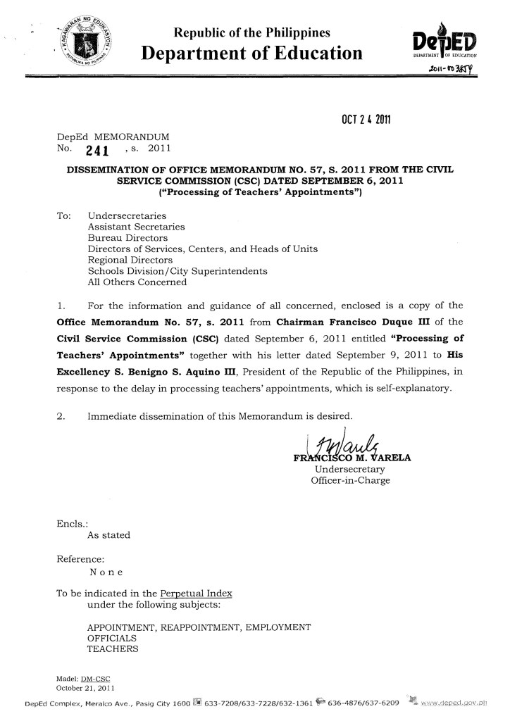 Processing or Attestation of Teachers' Appointments
