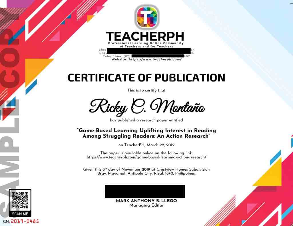 Sample Certificate of Publication