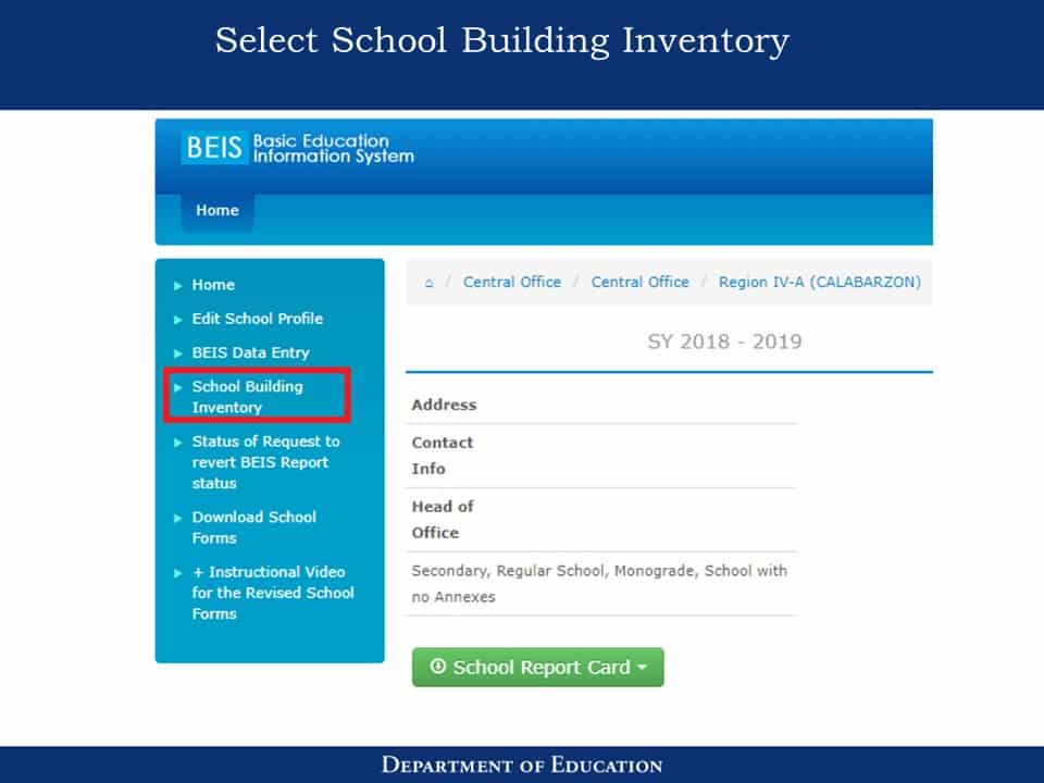 National School Building Inventory (NSBI) Enhanced Basic Education Information System (EBEIS) Encoding Step by Step Process