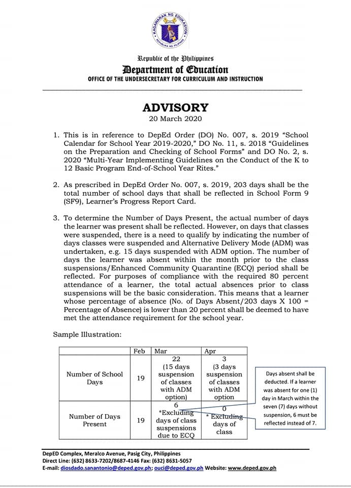 DepEd Advisory on Number of School Days