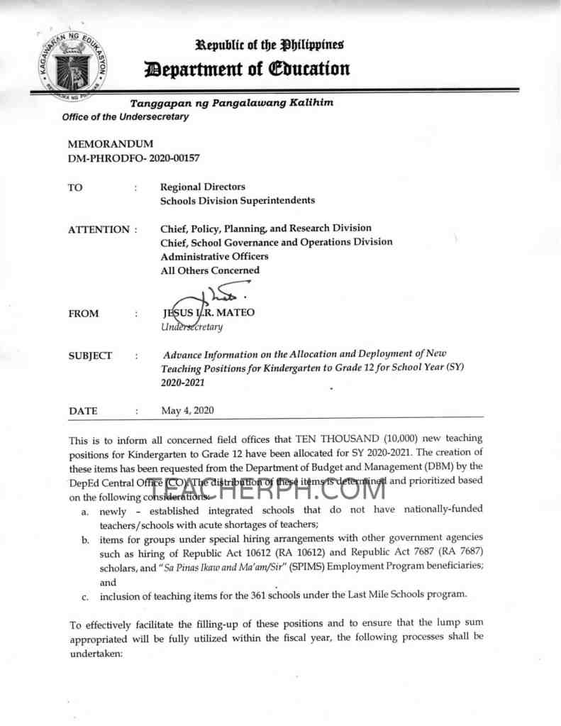 DepEd New Teaching Positions for Kindergarten to Grade 12 for SY 2020-2021 page