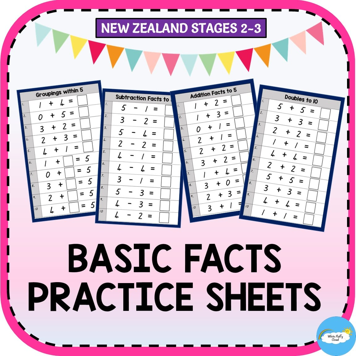 Basic Facts Practice Sheets Nz Stages 2 3
