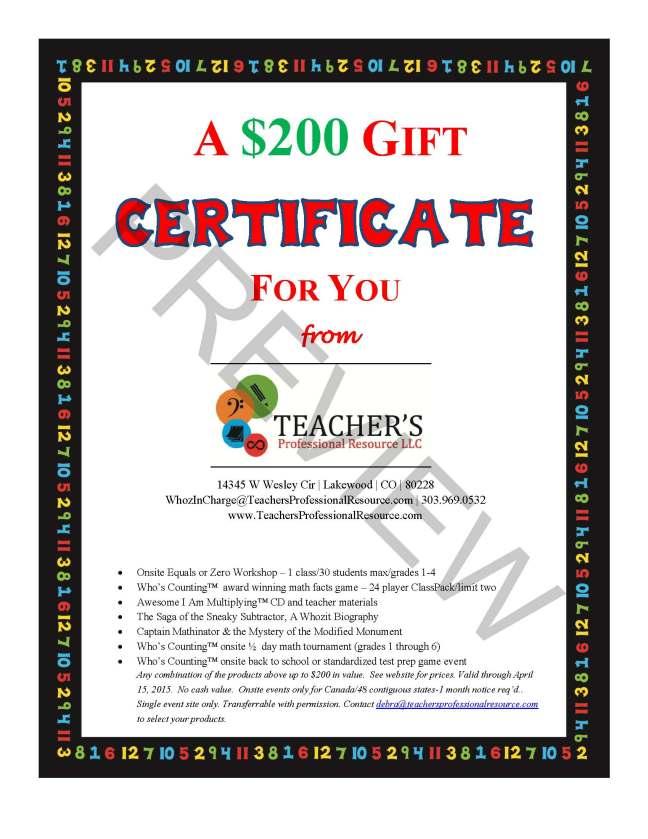 Teacher's Professional Resource -MET Gift Cert 2014