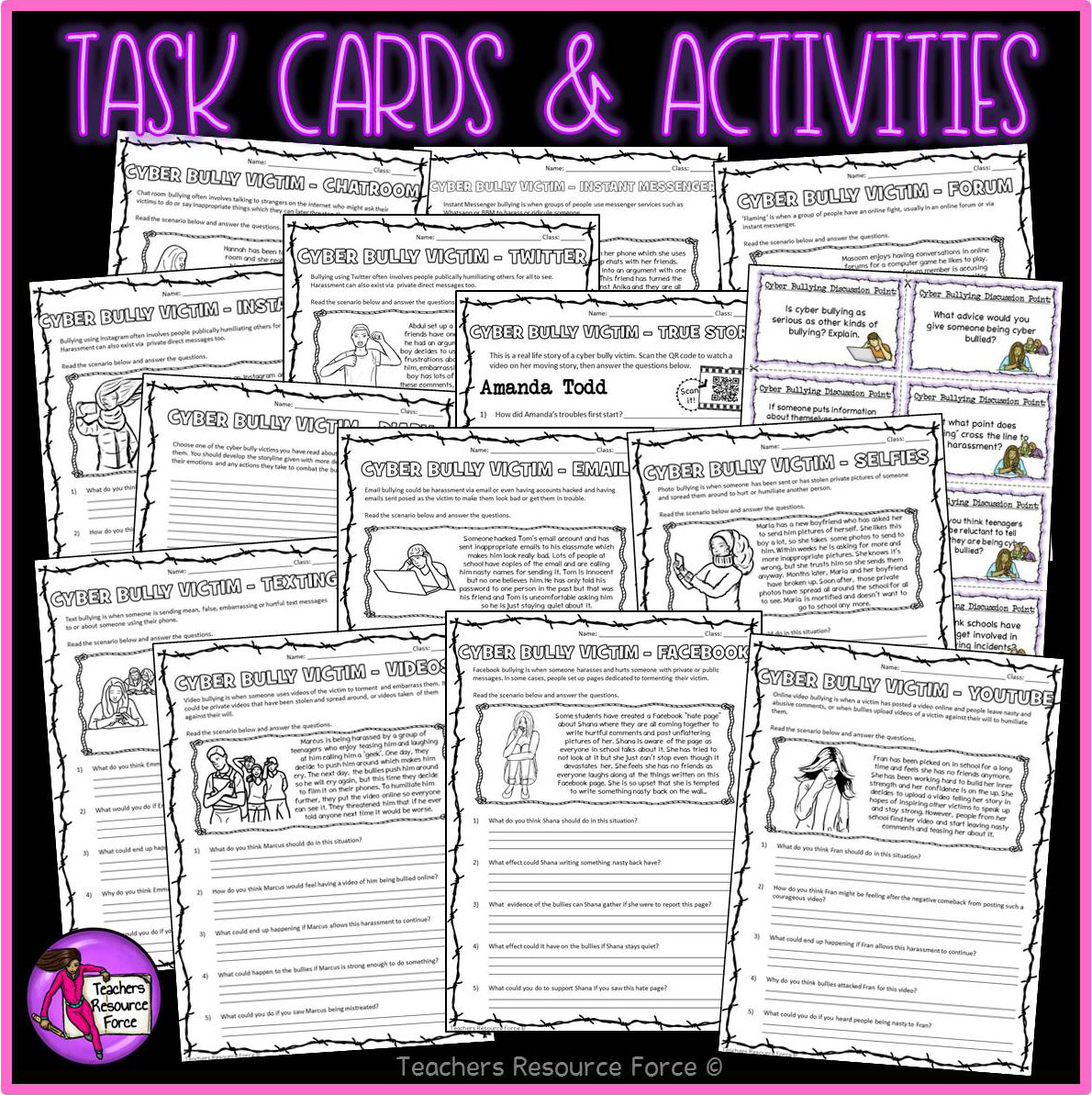 Cyber Bullying Awareness Activities Posters And Task