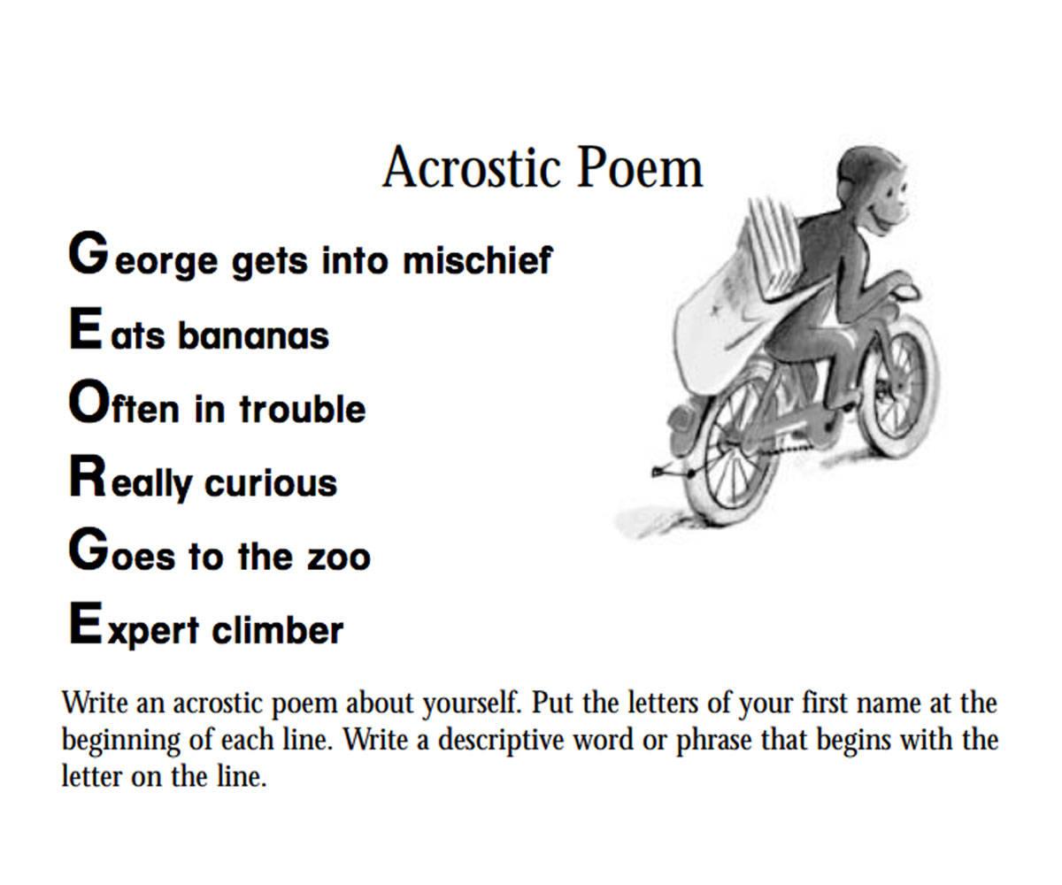 Curious George An Acrostic Poem Printable Pre K