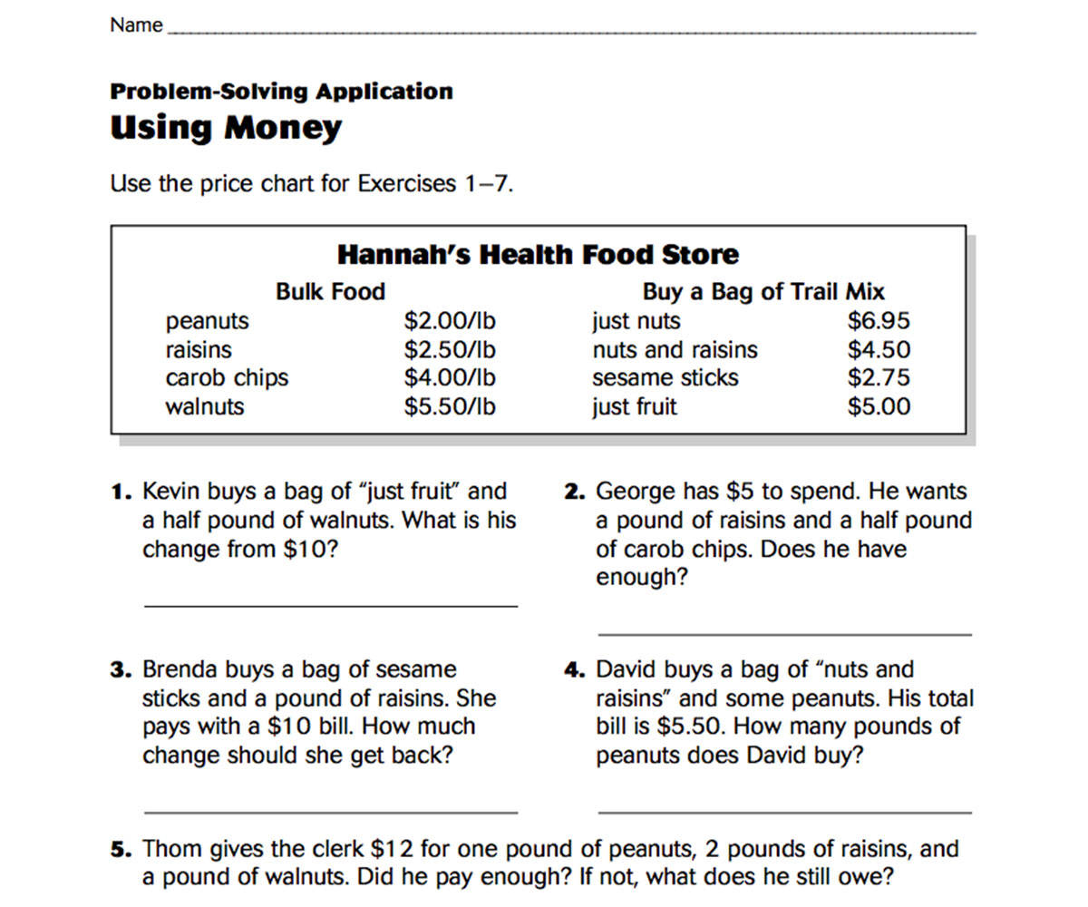 Using Money Connecting Decimals And Money Printable 3rd