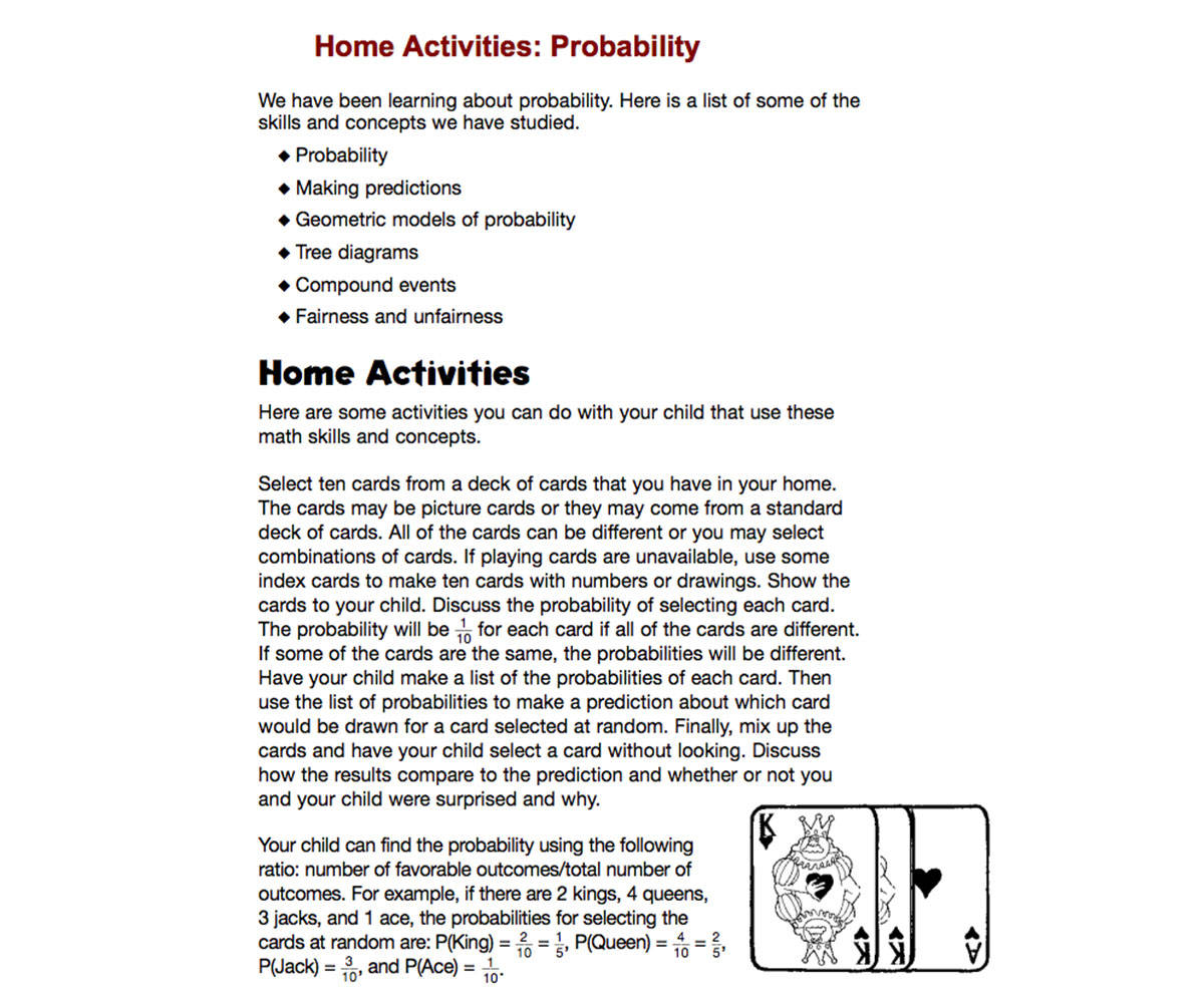 Home Activities Probability