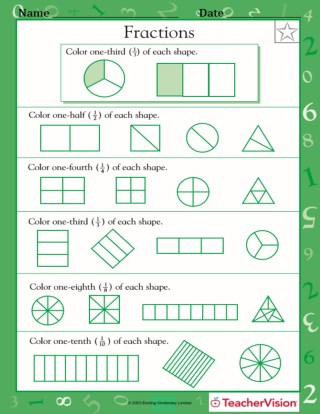Fractions Of Shapes 1 2 1 4 1 3 1 8 1 10 Worksheet