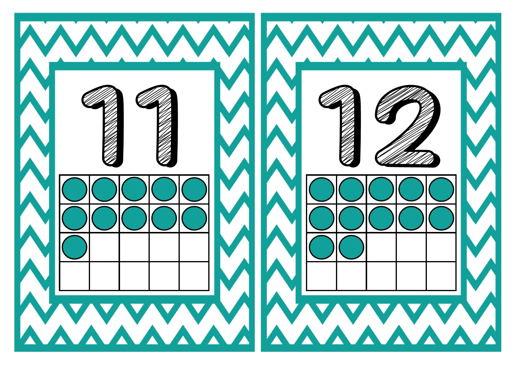 1 20 Number Posters With Counting Frames