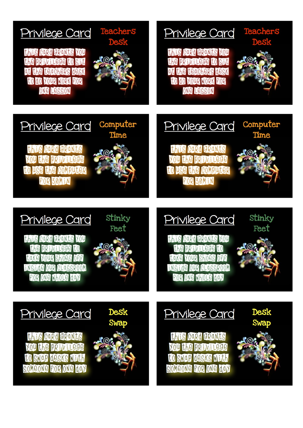Reward Privilege Cards Colour