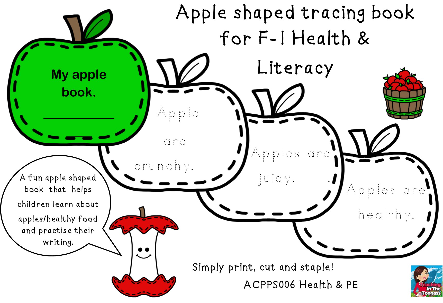 Acara Acpps006 Apple Shaped Tracing Book F 1 Fruit Health Literacy Fun