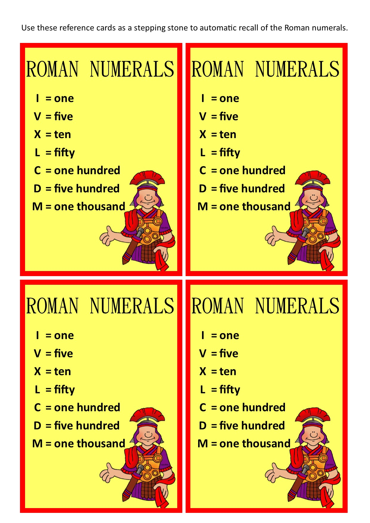 Roman Numeral Reference Cards