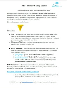 how to write an essay outline teach it too the teaching cove the essay outline how to write an essay outline