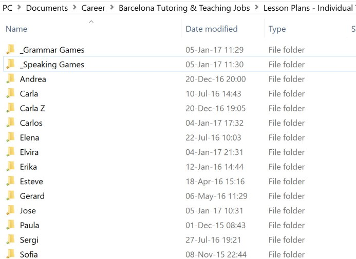 Tutor Organization Folders