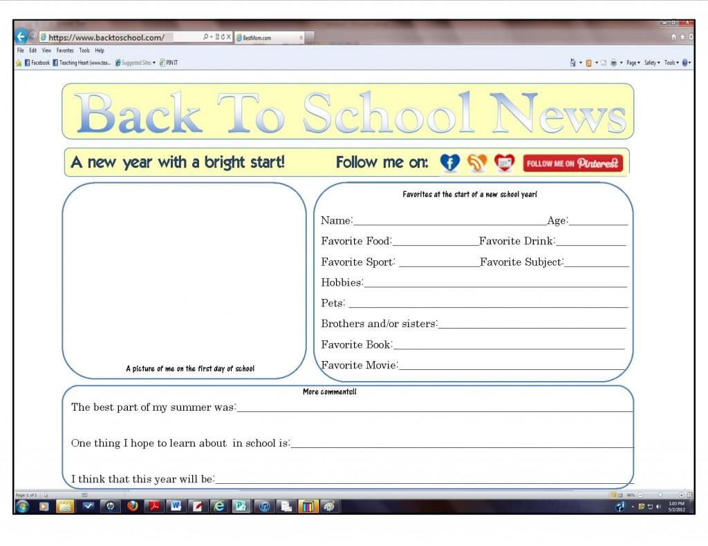 Classroom Freebies Back To School Online Form