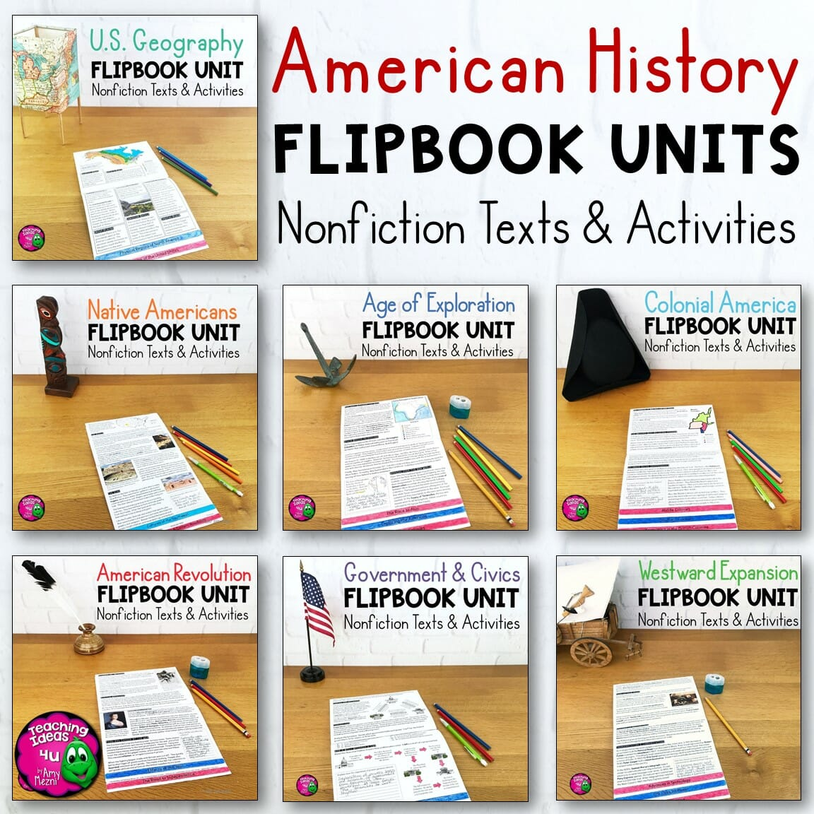 American History 7 Unit Bundle Informational Texts Maps