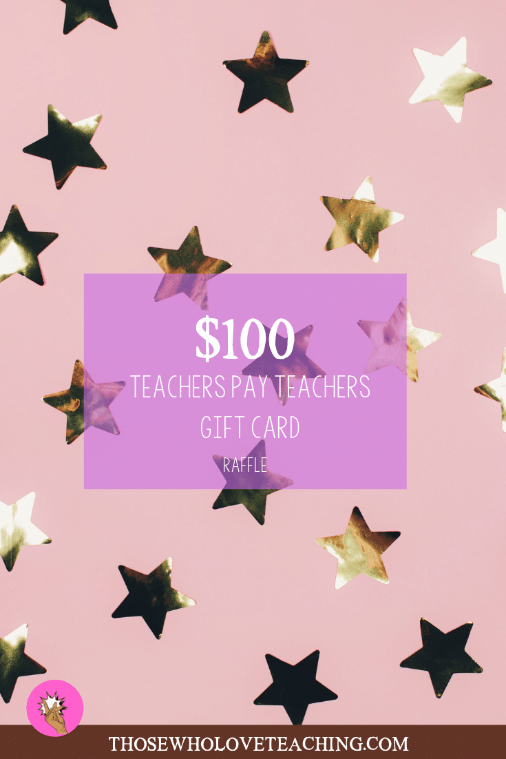 Enter a $100 Teachers Pay Teachers Gift card giveaway. This giveaway is for the month of August 2019. A great way to stock up on items for your class. #Teachersknow #Backtoschool
