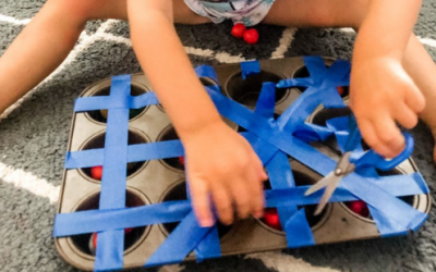 Muffin Tin Trap and Rescue for Preschool Cutting Practice