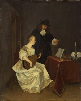 The Music Lesson by Borch, Gerard ter, the younger (1617-1681) - National Gallery of Art (Washington, DC) 1960.6.10