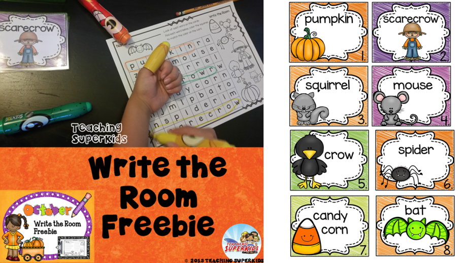 October Write The Room Freebie perfect for the crazy month of October