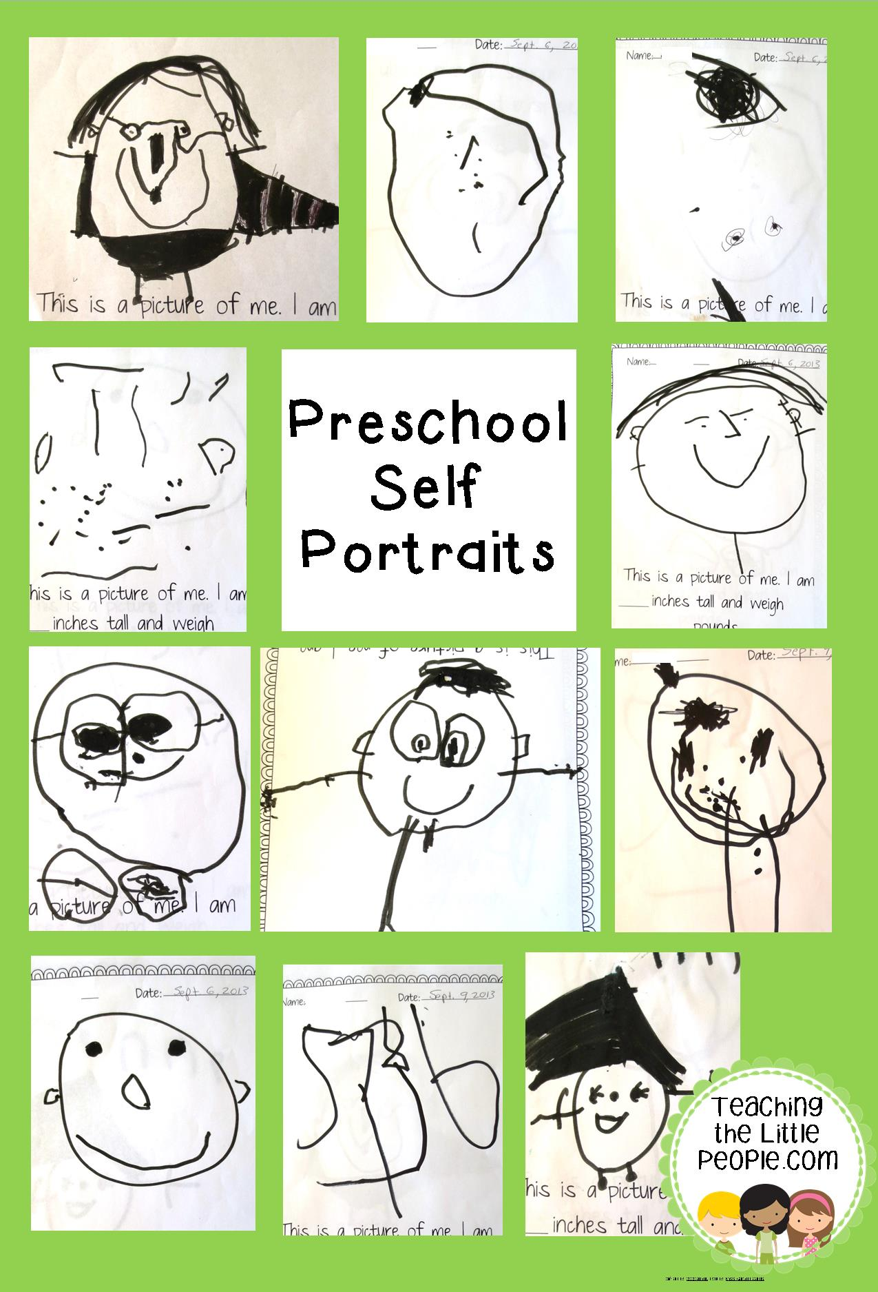 Self Portraits In The Preschool Teaching The Little People