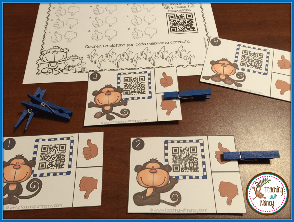 Spanish Monkey Initial Syllable Qr Code Station