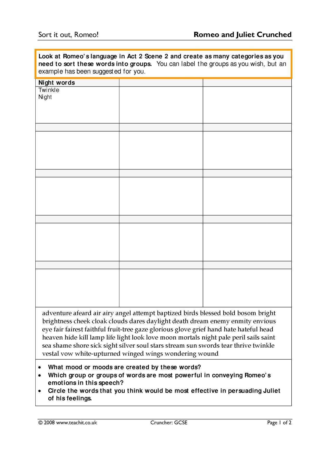 Romeo And Juliet Review Worksheet