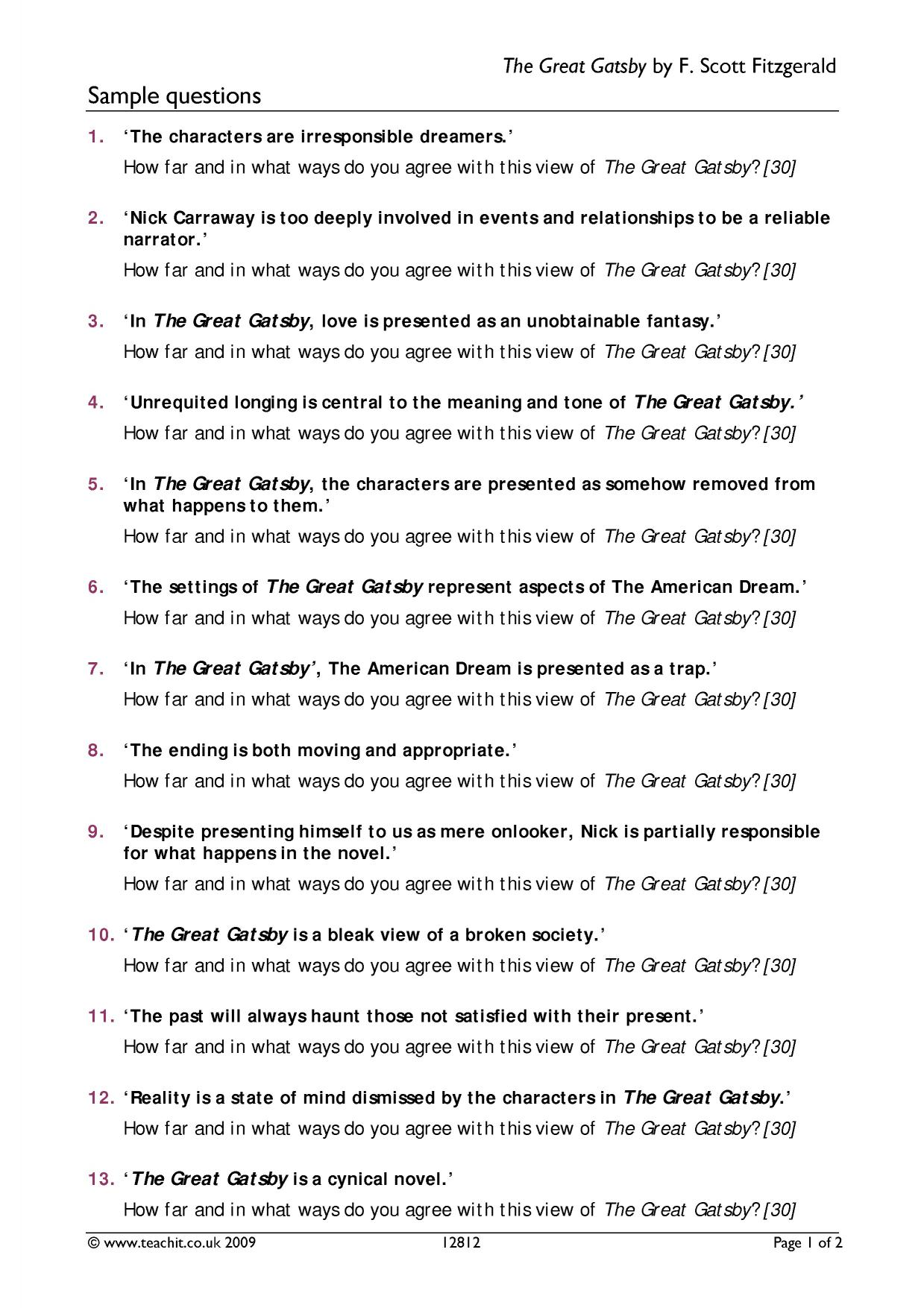 The Great Gatsby Worksheet Chapter 1 5