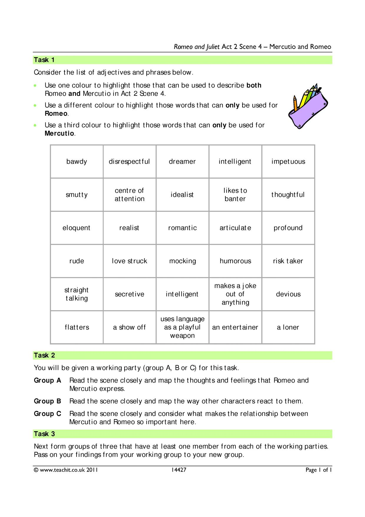 Romeo And Juliet Study Guide Answer Key