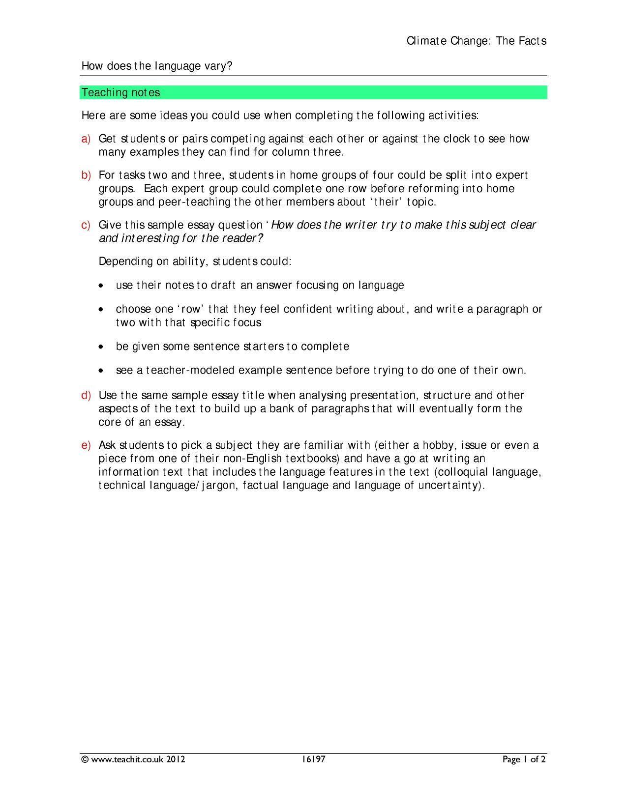 English Language Gcse Essay Questions
