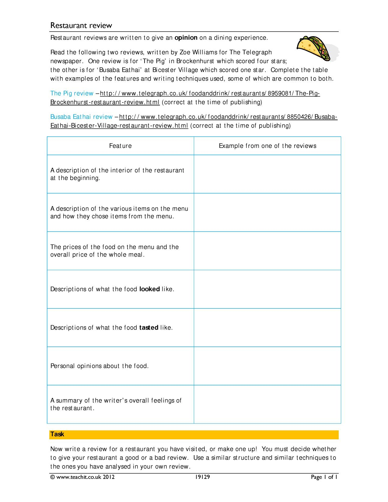 Book Review Resources Ks3